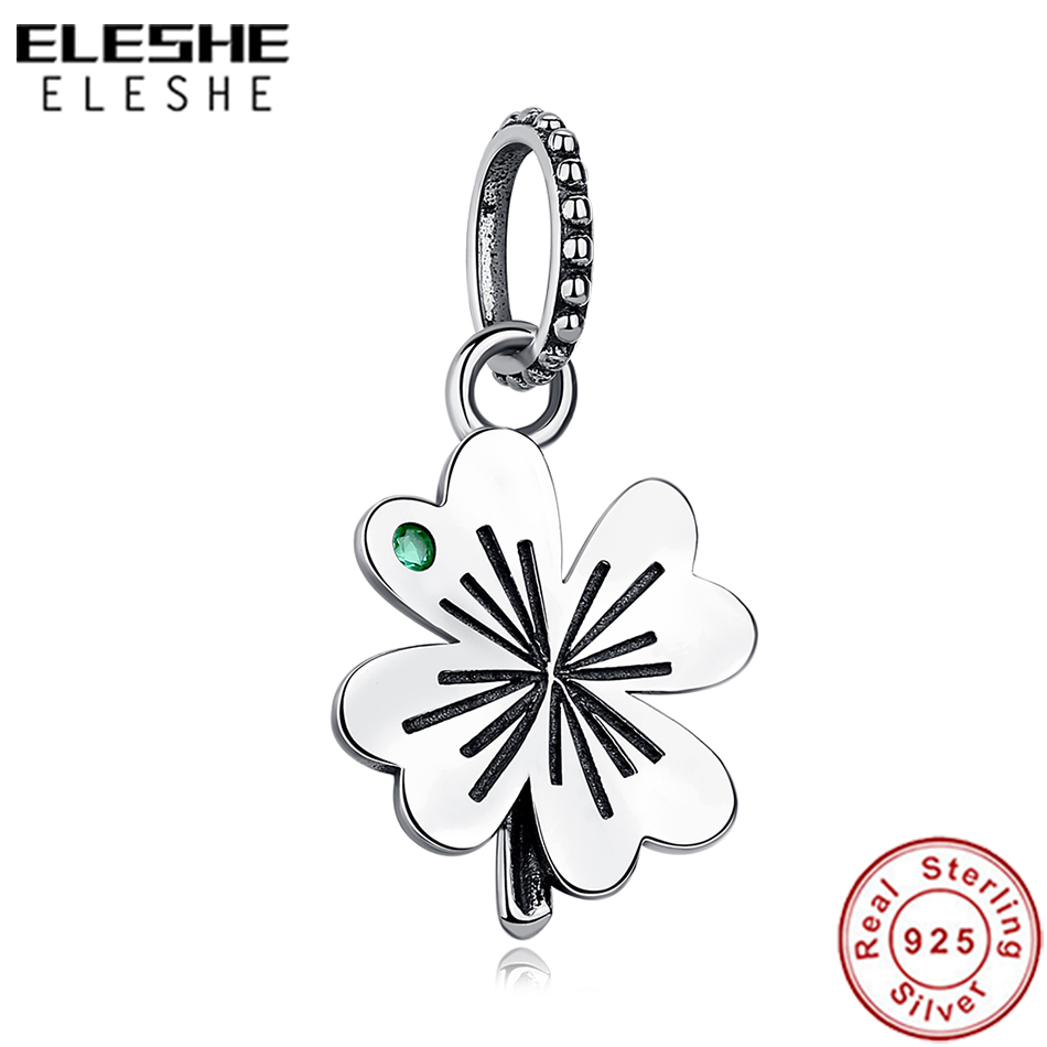 ELESHE Authentic 925 Sterling Silver Lucky Four-Leaf Clover Beads Charms Fit Original Pandora Bracelet & Necklace Jewelry Making