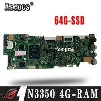Met N3350-CPU 4G-RAM 64G-SSD Laptop Moederbord Voor Asus Vivobook Flip TP401NA TP401N TP401MA TP401M Moederbord 100% Test Goed