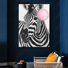 Baby Animal Poster Zebra Balloon Canvas Painting Nursery Wall Art Nordic Picture Kids Room Decoration No Frame black white baby animal rabbit tail canvas art print and poster nursery bunny canvas painting for kids room nordic wall decor