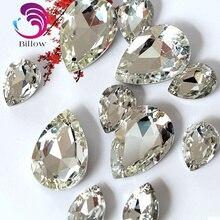 Хорошее стекло Кристалл пришить стразы каплевидные высокое качество Pointback лучшие алмазные капельки Швейные Стразы для одежды B1039