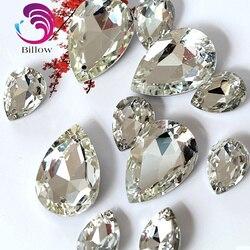 Bom cristal de vidro costurar em strass lágrima alta qualidade pointback melhor diamante droplet costura strass para vestuário b1039