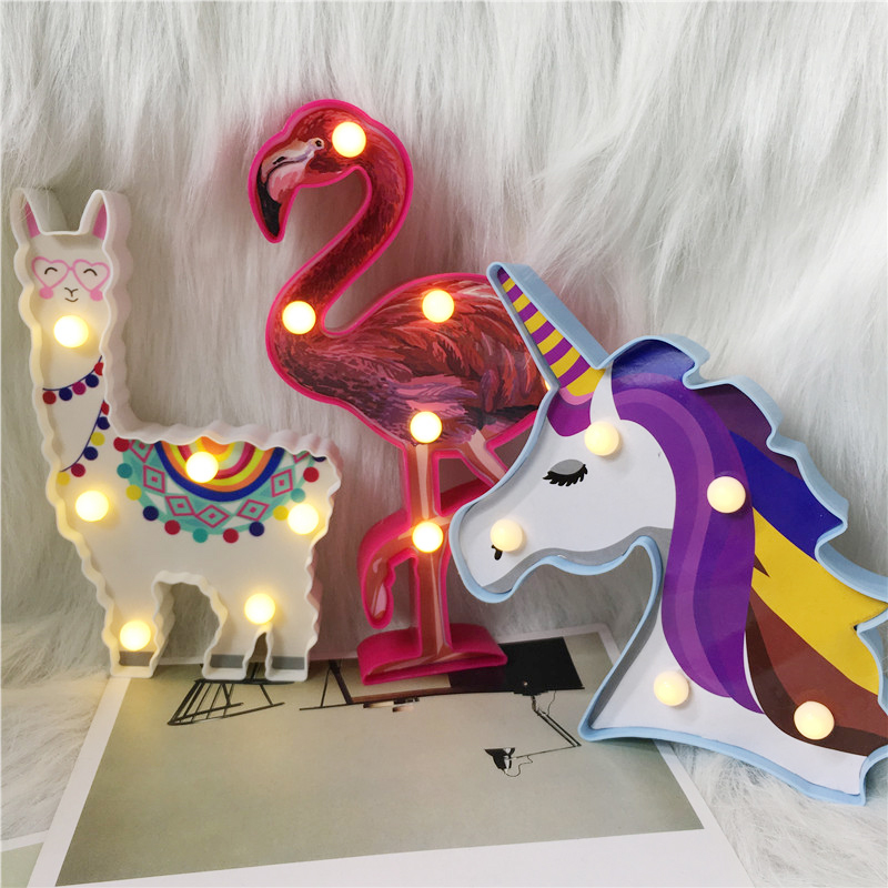 Total Cute Animal Style Battery Night Lamp 3D Alpaca Unicorn Flamingo Home Decor Table Lamp Bedside Lighting Kids Gift Led Light