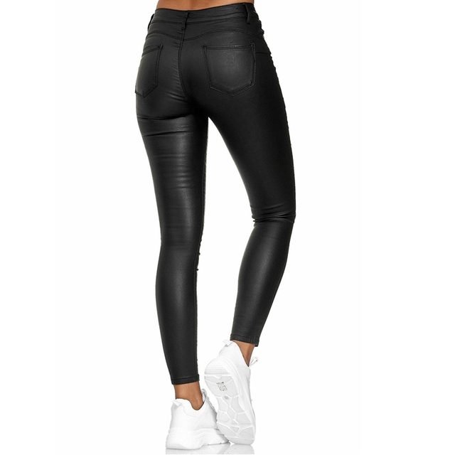 Spring Women Pu Leather Pants Black Sexy Stretch Bodycon Trousers Women High Waist Long Casual pencil pants top S-3XL plus size 6