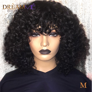 Curly Human Hair Bob Lace Front Wig With Bangs 150% Density 13X4 Lace Front Bob Wig Remy Pre Plucked Short Brazilian Wig M(China)