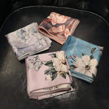 High Quality Women Fashion 2019 100% Silk Scarf 53cm Headscarf Square Handkerchief Rings Scarves Luxury Brand Matagorda