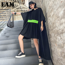 Женское плиссированное платье [EAM], асимметричное свободное платье большого размера с круглым вырезом и коротким рукавом, весна-лето 2020 1X098