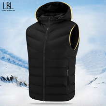 Vest Jacket Clothing Coat Outwear Warm Male Thick Winter Sleeveless Hat Detachable Casual