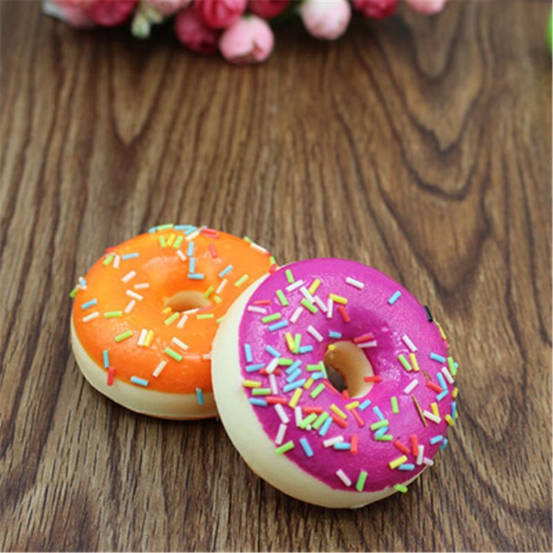 New Squishy Doughnut Slow Rising Charms Toy Stress Relief Toys Squishy Food Y4UD