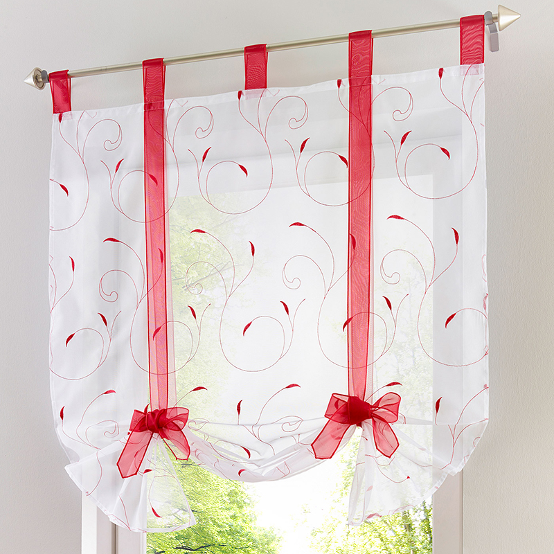 Roman Shade European Embroidery Style Tie Up Window Curtain Kitchen Curtain Voile Sheer Tab Top Window Curtains Cortinas