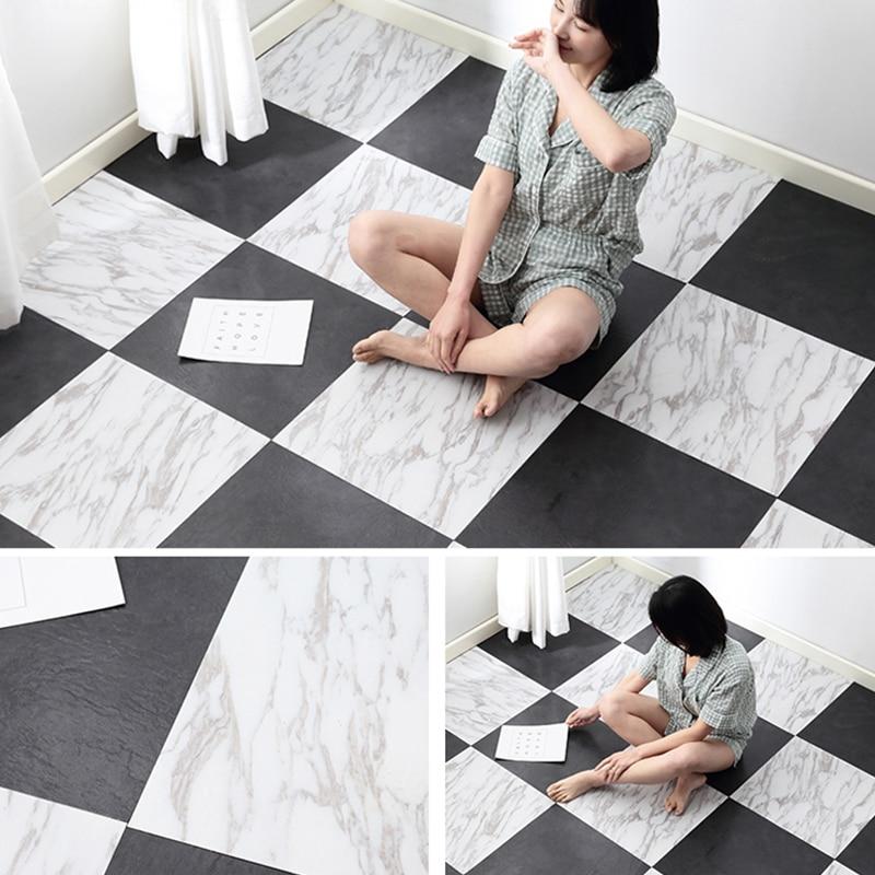 Thick Self Adhesive Vinyl Floor Wallpapers Fashion Marble Pattern Bathroom Floor Stickers DIY Bedroom Ground Decals Room Decor