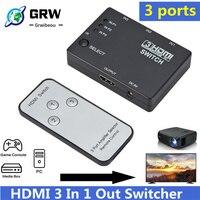 Grwibeou-conmutador 3 en 1 con 3 puertos HDMI, conmutador automático 3x1 1080p HD 1,4 con Control remoto para HDTV XBOX360 PS3