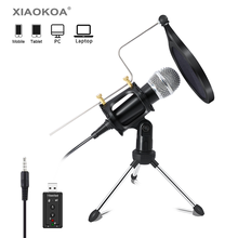 XIAOKOA recording Condenser Microphone mobile phone microphone 3.5mm Jack microfone for Computer PC Karaoke mic for phone