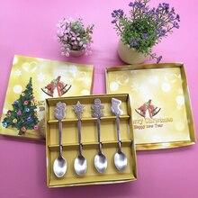 4pcs Christmas Style Teaspoon Cutlery Flatware Decoration Accessories Stainless Steel Coffee Dessert Ice Cream Spoon