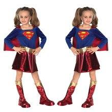 Halloween Children Cosplay Superwoman Plays Children's Clothing Supergirl Children's Day Performance Blue Uniform Holiday Party supergirl who is superwoman