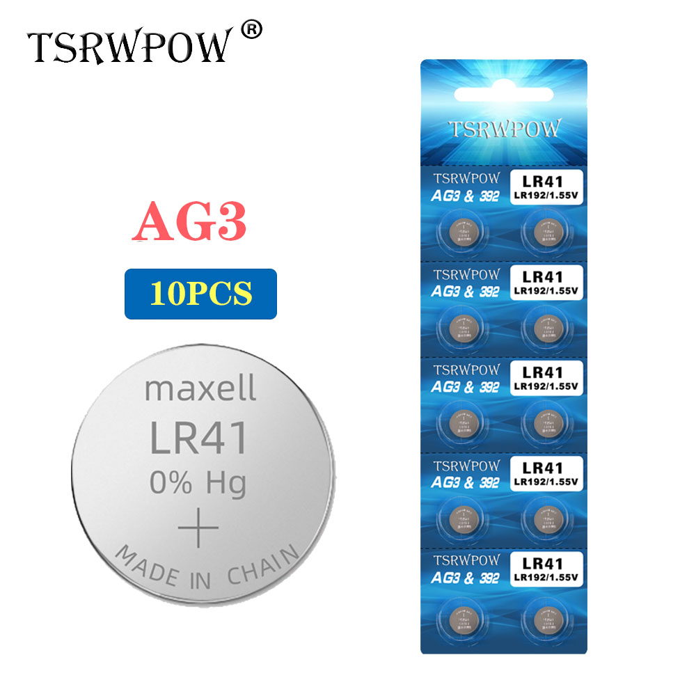 TSRWPOW 10PCS/PACK 1.55V Lithium AG3 Cell Coin Battery Batteries For Watch Toys AG3 G3A L736 192 LR41 392 Button Batteries