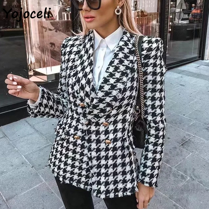 Yojoceli 2019 Autumn Winter Plaid Tweed Blazer Coat Elegant Breasted Outerwear Coats Streetwear