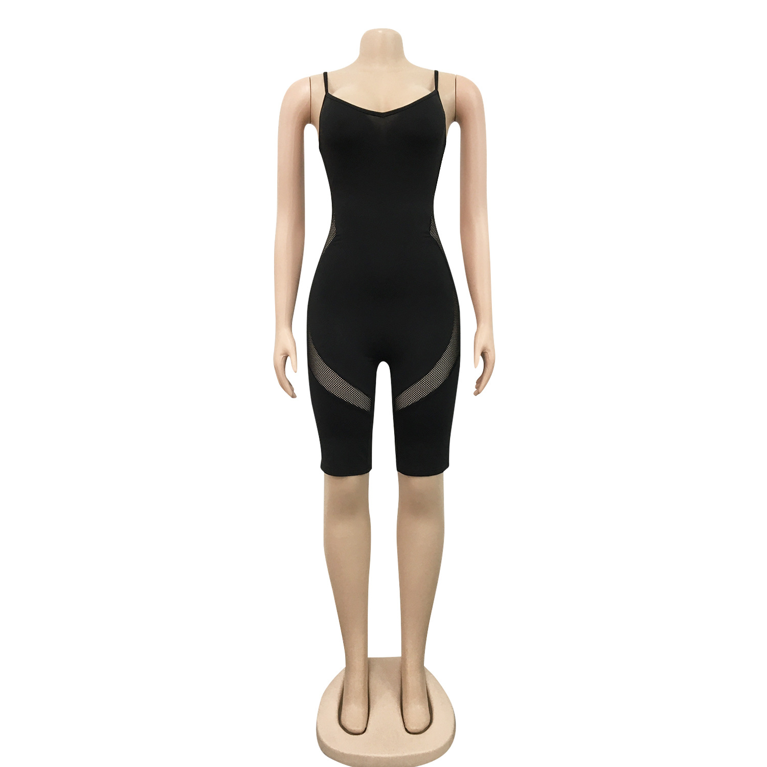 ANJAMANOR Sporty Sheer Mesh Insert Plus Size Rompers Sexy One Piece Shorts Jumpsuits for Women 2020 Dropshipping D42 BH16