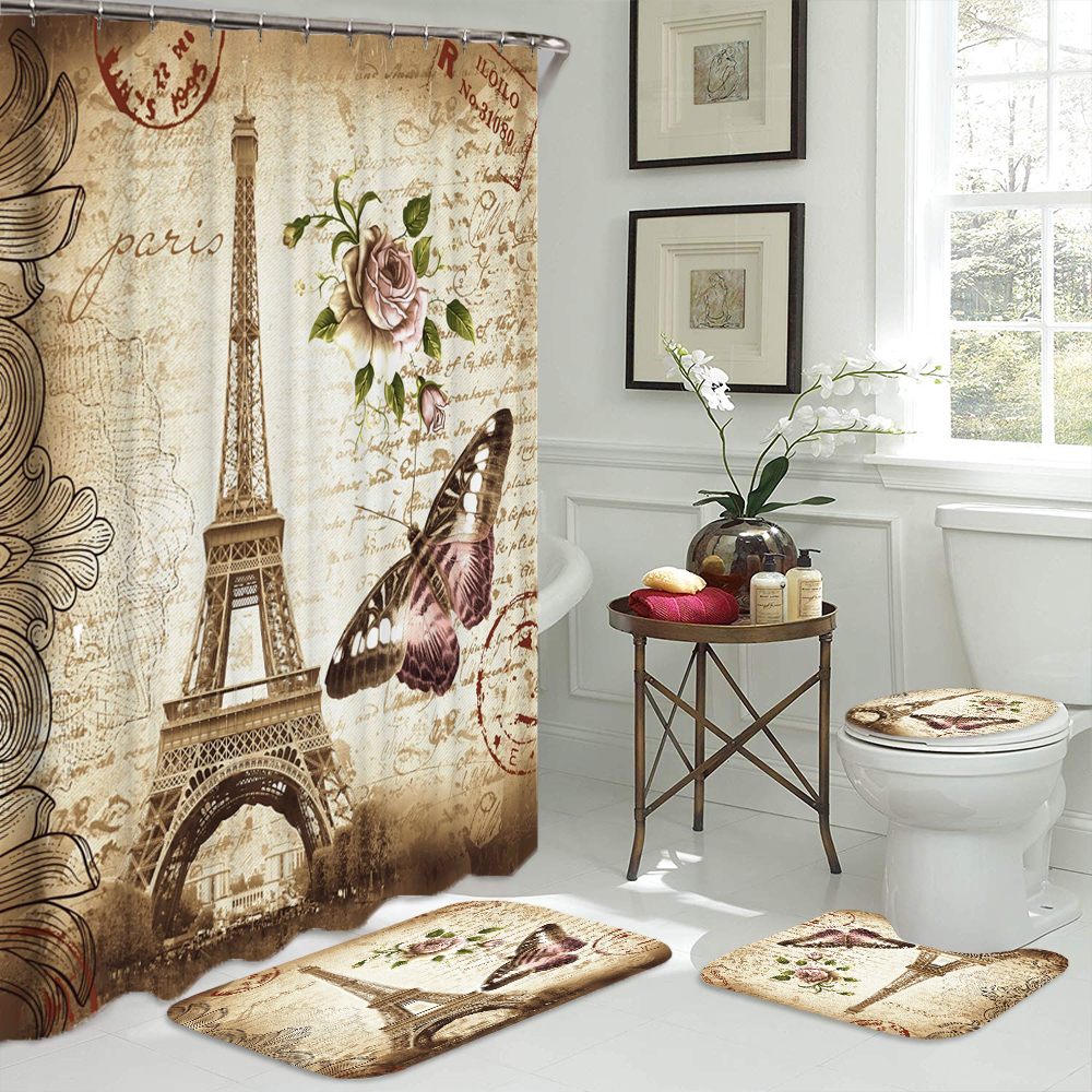Paris Tower 3D Printed Bathroom Curtain Set Made with Flannel Fabric For Bathroom Use 1