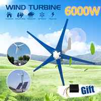 6000W 5 Blades Horizontal Wind Generator 12V/24V Wind Turbines Generator With Controller Windmill Energy Turbines Charge