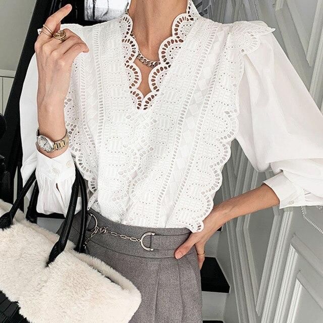 Nomikuma Lace Ruffle Patchwork Women Blouse Puff Long Sleeve V-neck Elegant Blusas Top 2021 Spring New Pullover Shirt 6E071 5
