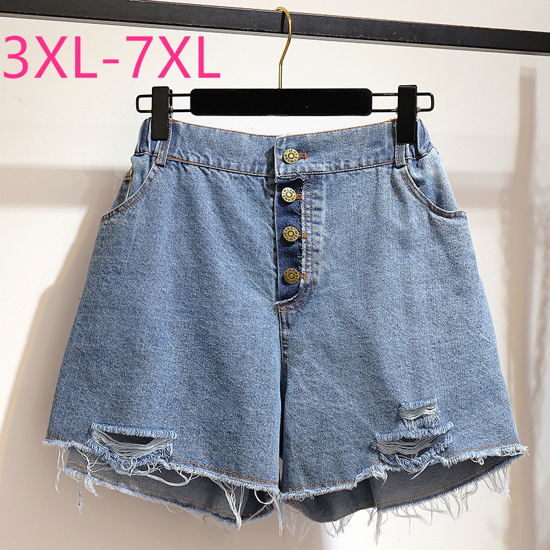 New 2020 Summer Plus Size Denim Shorts For Women Large Loose Casual Elastic Waist Pocket Blue Hole Jeans Shorts 4XL 5XL 6XL 7XL