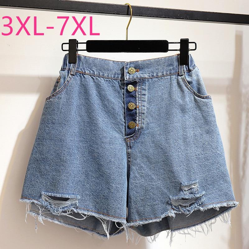 New 2020 Summer Plus Size Denim Shorts For Women Large Loose Casual Elastic Waist Pocket Blue Hole Jeans Shorts 4XL 5XL 6XL 7XL