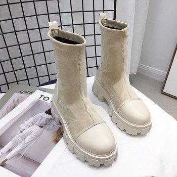 Женские черные ботинки-носки, новинка 2020, панк-готическая обувь, ботильоны, обувь на платформе, женские белые ботинки-носки