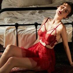 Сексуальный мусс с открытой спиной, женская одежда для сна, ночные платья с тонгами, наборы, v-образный вырез, кружево, элегантная кукла Тедди... 2
