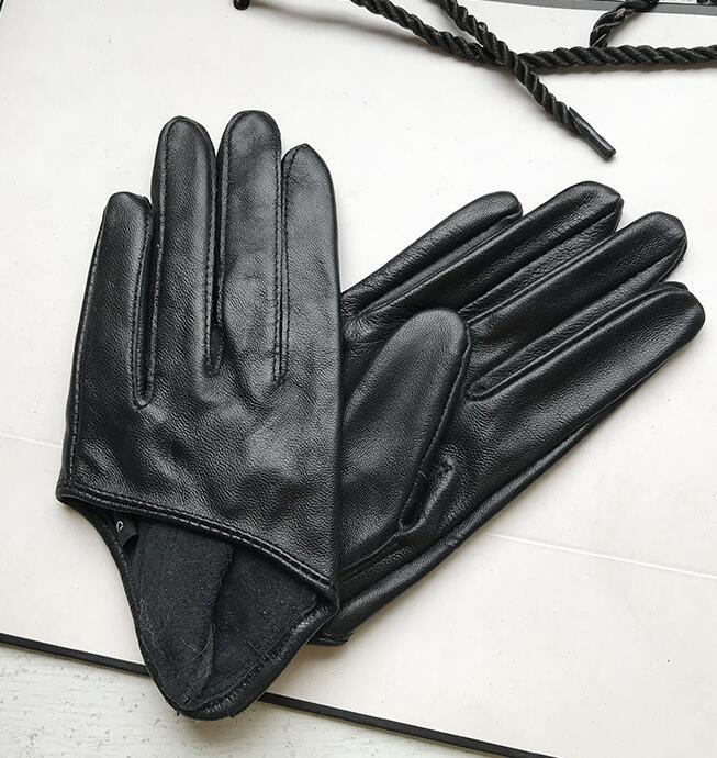 Осенне-зимние женские короткие дизайнерские перчатки из овечьей кожи тонкие перчатки из натуральной кожи полупальмовые черные перчатки ...