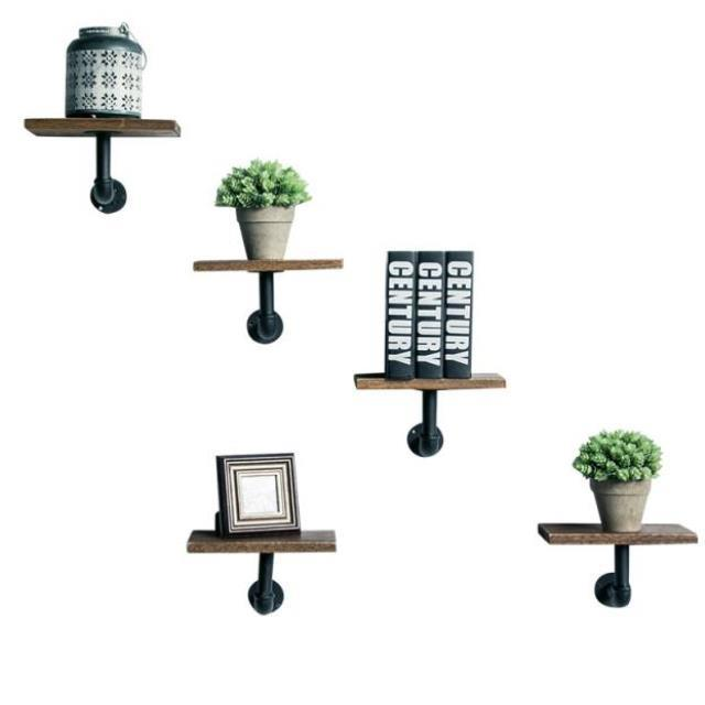 Wall Flower Stand Decorative Wall Flower Stand Wall Hanging Board Shelf Water Pipe Living Room Word Shelf Flower Pot Rack