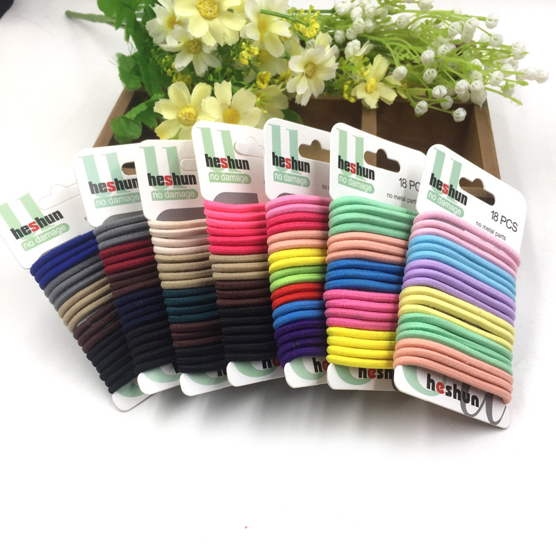 18pcs/set High Quality Cotton Solid Elastic Hair Band Headband For Women Girl Hair Rope Rubber Band Hair Accessories Tie