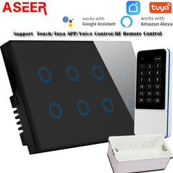 ASEER стандарт Великобритании 8 банд WIFI переключатель совместимый RF пульт дистанционного управления/Alexa/Google/Tuya Smart Life,AC110-240V,WIFI светильник 600W