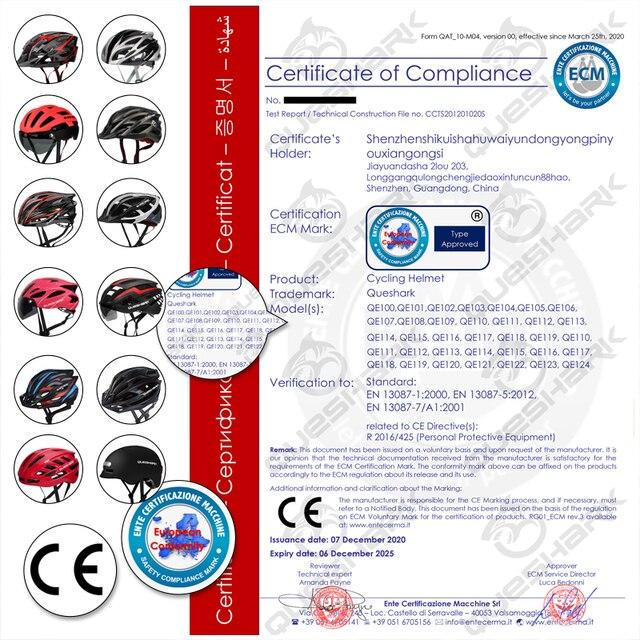 Queshark profissional das mulheres dos homens ciclismo capacete com lente removível mtb bicicleta capacete com lanterna traseira l tamanho 58cm-64cm qe120 6