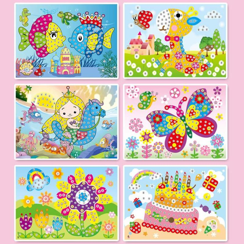 Diamond Art Sticker Mosaic Craft Kids Educational Puzzle Crystal DIY Painting Cartoon Diamond Sticker Toys Kit Toy Stone Sticker