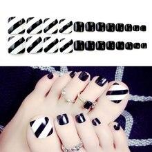 24 шт ног накладные Типсы черного цвета Поддельные Пальцы ногтей