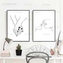 Скандинавская черно белая фигурка влюбленных Декор для дома