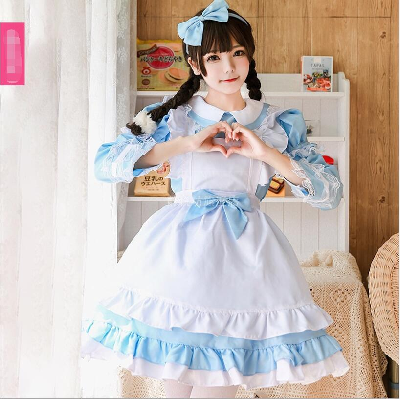 Halloween Anime Maid Cosplay Costume Sweet Lovely Lolita Dress Party Outfit