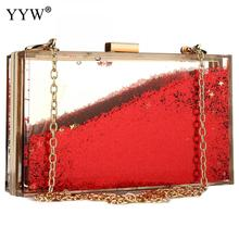 Sequined Transparent Crossbody Bags For Women 2019 Evening Clutch Party Shoulder Purse Luxury Acrylic Wedding Designer Box Bag luxury handbag evening bag diamond flower hollow clutch designer bag box relief acrylic banquet party purse women shoulder bags