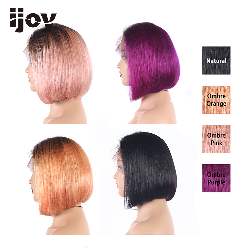 "Ombre Pink Purple Orange Lace Front Human Hair Wigs 13x4 Short Bob Lace Wig 8"" Brazilian Remy Straight Pre-Plucked Lace Wig IJOY"