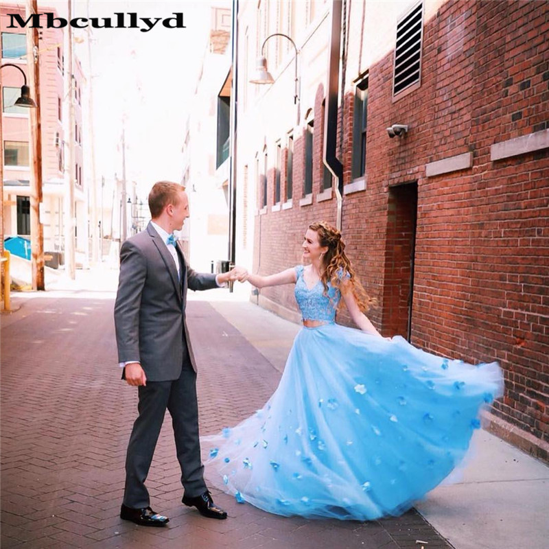 Mbcullyd V-neck   Prom     Dresses   Long 2019 Two Pieces   Dress   Evening Gowns Applique Lace Tulle Flowers vestidos de fiesta de noche