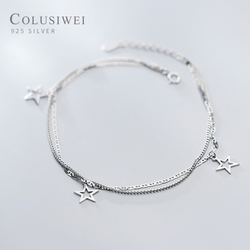 COLUSIWEI Real 925 Sterling Silver Double Layer Stars Anklet for Women Simple Leg Link Chain Korea Style Fine Jewelry 2020 NEW