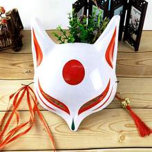 цена на Japanese Fox Mask PVC Demon  Cosplay half Face Hand Painted Masquerade Kabuki Cosplay Fox Masks