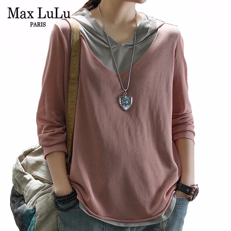 Max LuLu 2020 Spring Korean Fashion Style Ladies Casual Clothes Womens Loose Vintage Tshirts Female Patchwork Cotton Tee Shirts