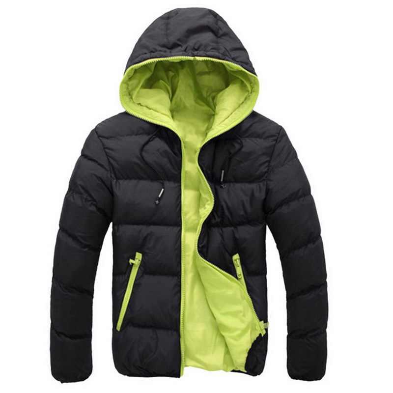 HEFLASHORชายเสื้อฤดูหนาวสีบล็อกZipper Hoodedแจ็คเก็ตฝ้ายเบาะCoat SLIM FITแฟชั่นThicken WARM Outwear Tracksuit