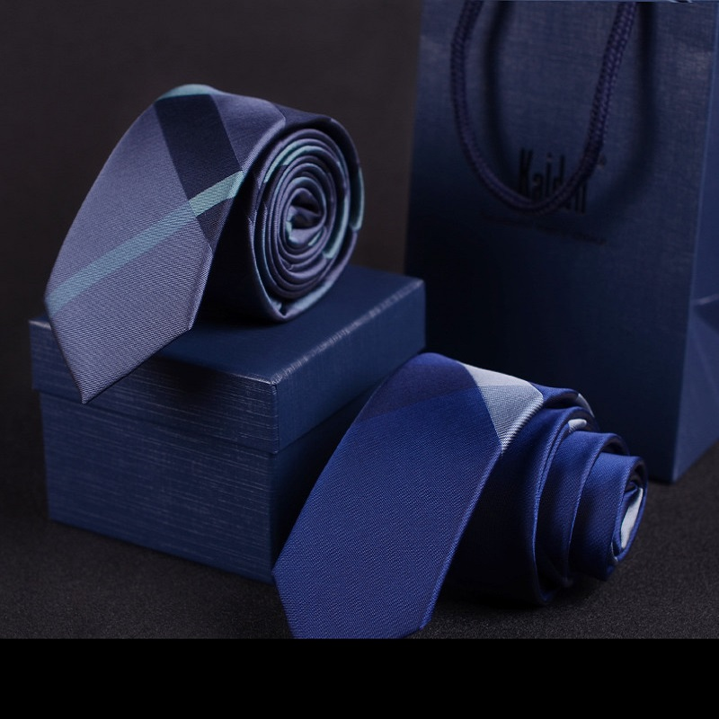 2020 Designer New Fashion 6cm Slim Ties For Men Zipper Plaid Blue Neckties Wedding Party Casual Work Accessories With Gift Box