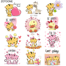ZOTOONE Cute Duck Tiger Flower Heart Patch Ironing Heat Transfer for Clothing Iron on T-shirt DIY Animal Stickers O