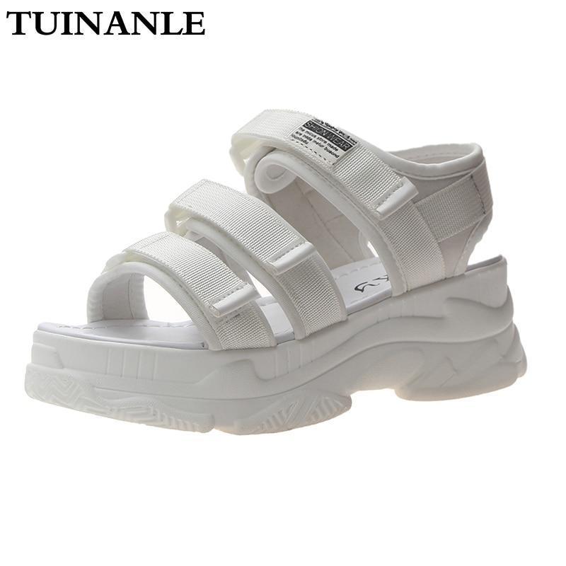 TUINANLE Gladiator Platform Women's Sandals 2021 Summer Fashion Women Chunky Beach Sandal Denim Comfortable Sandalias Mujer