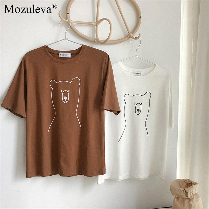 H1904e36aa32a48269bd1776baee076b89 Mozuleva 2020 Chic Cartoon Bear Cotton Women T-shirt Summer Short Sleeve Female T Shirt Spring White O-neck Tees 100% Cotton