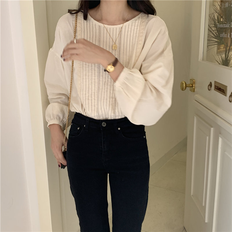 Alien Kitty Apricot Pleated O-Neck Gentle Cotton Korean 2020 Large Size Office Lady Tops Elegant Full-Sleeved All Match Shirts