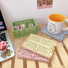 Storage-Box Carrying-Basket Desktop Folding Plastic Mini